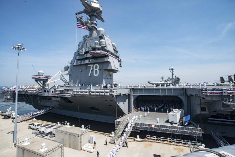 USS Gerald R. Ford (CVN 78) during its commissioning ceremony at Naval Station Norfolk